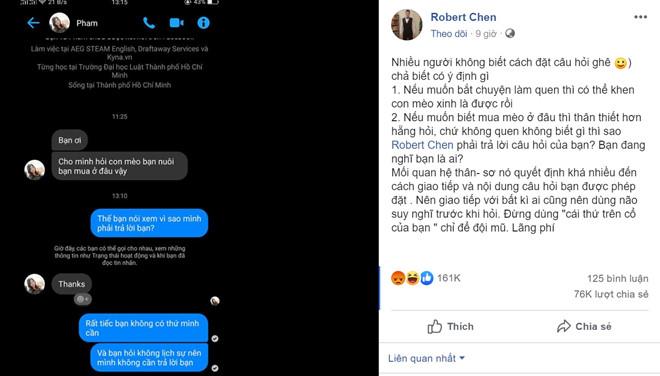 Robert Chen - chủ nhân câu 'sao mình phải trả lời bạn' bị quấy rối-1