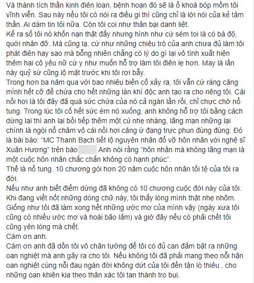 Tưởng đã hồi kết nhưng hoá ra vẫn chưa hết, NS Xuân Hương tiếp tục đăng đàn chuyện MC Thanh Bạch dùng chiêu để hạ bệ danh tiếng mình-6