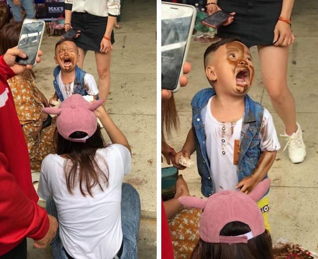 Hình ảnh hài hước nhất đầu tuần: Cậu bé khóc nức nở vì lỡ... in mặt lên người vận động viên thể hình-1