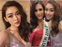 Tường San xinh đẹp đọ sắc cùng đương kim Hoa hậu Quốc tế ở họp báo