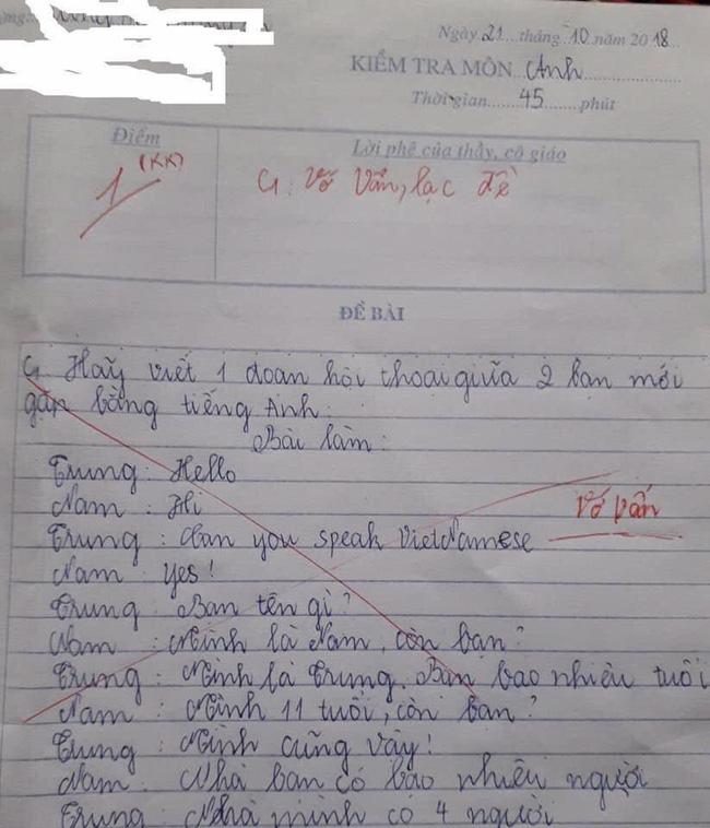 Cô giáo yêu cầu viết 1 đoạn hội thoại bằng tiếng Anh, học sinh lầy lội đáp trả bằng đoạn văn khiến dân mạng cười bò: Đã học dốt còn giỏi chống chế-1