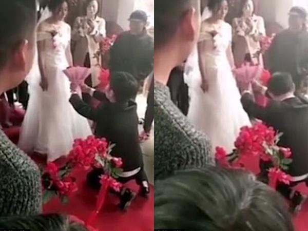 Chú rể quỳ xuống cầu hôn bằng hoa, cô dâu từ chối kết hôn ngay tại đám cưới-1