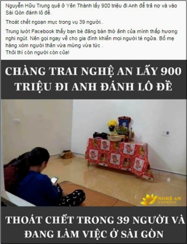 Không có chuyện thanh niên Nghệ An thoát chết vì lấy 900 triệu đi Anh để vào Sài Gòn đánh lô đề-1