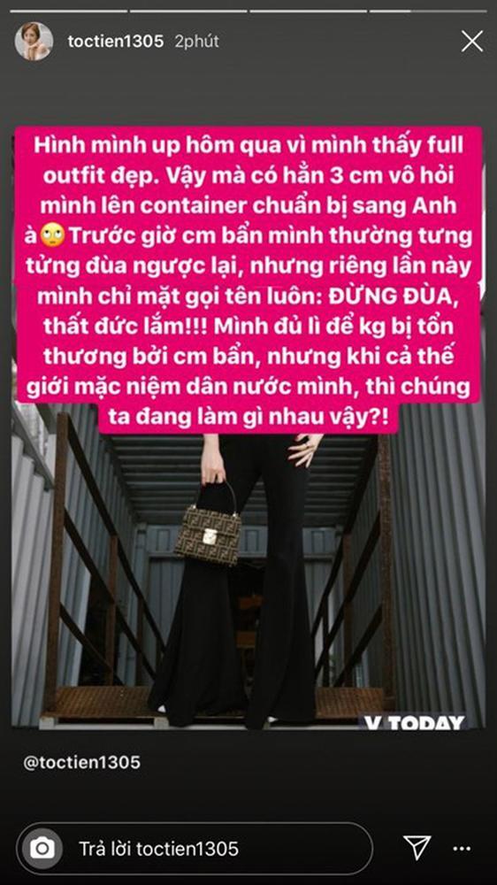 Bị dân mạng trêu đùa người đẹp container giữa lúc vụ án 39 thi thể gây xôn xao, Tóc Tiên đáp trả: Đừng đùa, thất đức lắm!-4