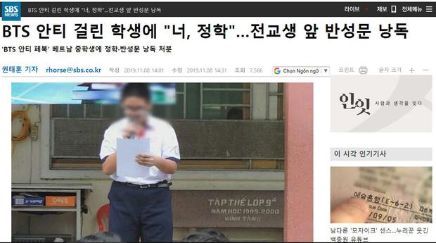Đài truyền hình lớn của Hàn Quốc đưa tin vụ nam sinh Việt lập page anti BTS bị nhà trường đình chỉ học, bắt xin lỗi công khai-1