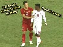 Dân mạng chế ảnh Hải Quế an ủi cầu thủ UAE nhận thẻ đỏ