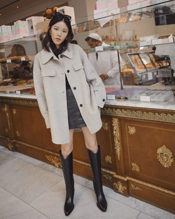 Hết Yoona rồi đến Hà Tăng diện chân váy da, bạn sao có thể kìm lòng trước item sang chảnh hào nhoáng này?-7