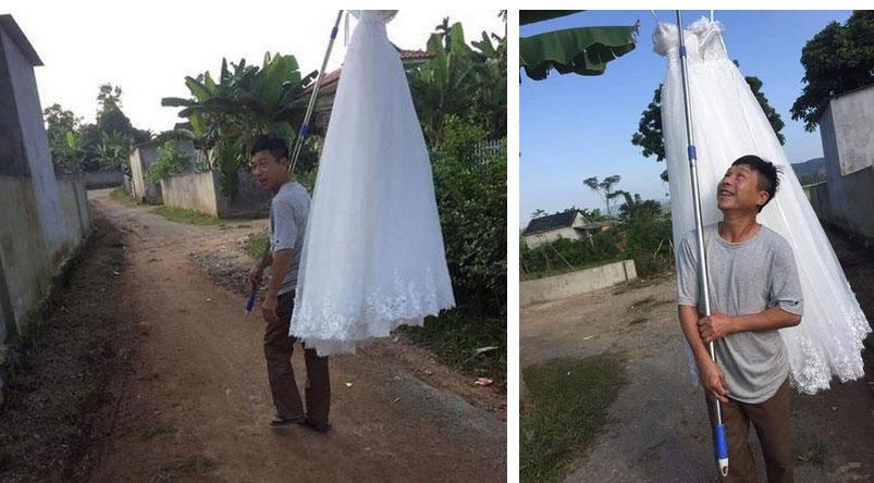 Quá vui mừng khi con gái thoát ế, ông bố gánh váy cưới diễu hành khắp làng trong sung sướng-2