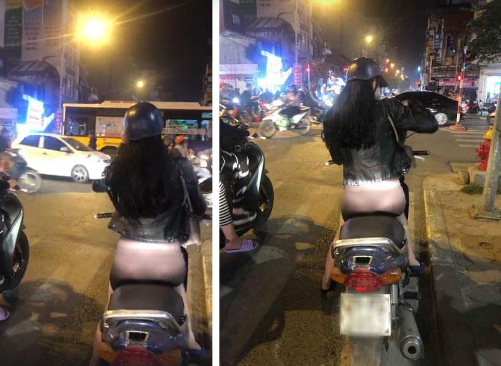 Đi xe máy ban đêm mặc quần quá mỏng để lộ cả nội y, cô gái xinh đẹp khiến dân mạng nóng mắt-2