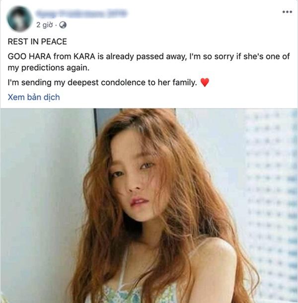 Rùng mình lời tiên tri chuẩn xác về việc Goo Hara qua đời của một tài khoản facebook, đã từng tiên đoán cả sự ra đi của Sulli-4