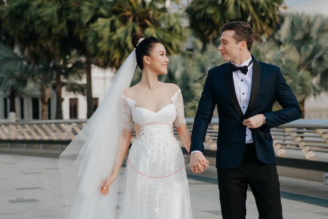 Vừa cưới chồng chưa đầy 1 ngày, Á hậu Hoàng Oanh đã lộ dấu hiệu cho thấy đang mang thai?-1