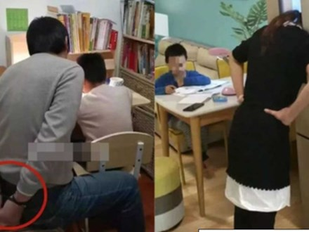 Bố tự trói tay mình để kiềm chế cơn giận khi dạy con học