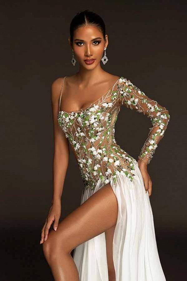 Trang phục dạ hội lấy cảm hứng từ giọt hoa tuyết của Hoàng Thuỳ tại Miss Universe 2019-4