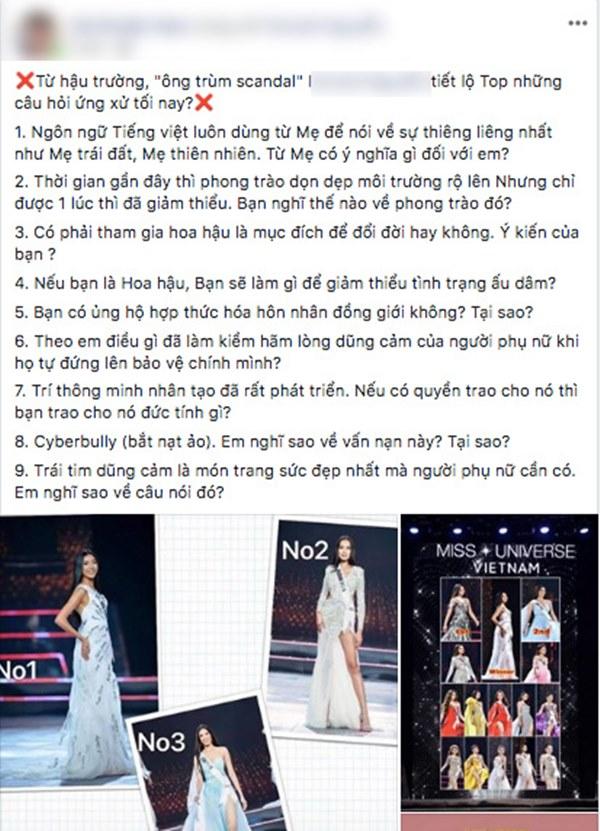 Rộ tin đồn câu hỏi ứng xử của chung kết Hoa hậu Hoàn vũ VN 2019 bị lộ trước giờ G, các thí sinh đều được chuẩn bị trước?-1
