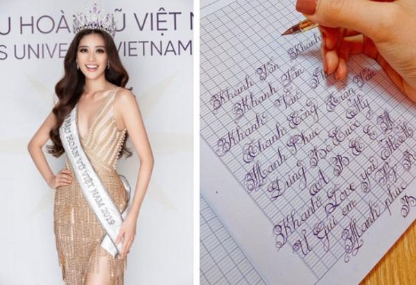 Chữ viết tay đỉnh như đánh máy của dàn Hoa hậu Việt: Phạm Hương cũng phải chào thua trước Nguyễn Trần Khánh Vân và Lương Thuỳ Linh-1