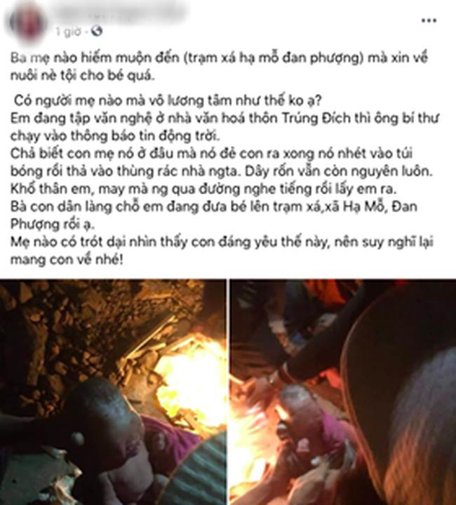 Nóng: Xôn xao hình ảnh bé sơ sinh còn nguyên dây rốn được phát hiện trong thùng rác giữa thời tiết giá lạnh tại Hà Nội-1