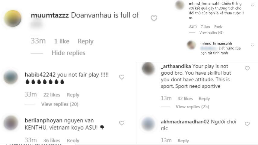 Đăng ảnh ăn mừng chiến thắng trên Instagram, Đoàn Văn Hậu bị cổ động viên Indonesia tràn vào bình luận miệt thị, xúc phạm nặng nề-7