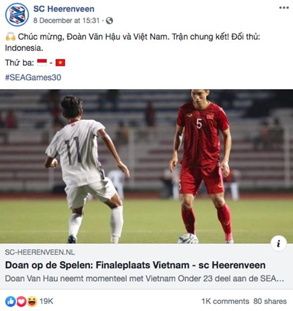 Góc tự hào: CLB của Đoàn Văn Hậu ở Hà Lan gửi lời chúc mừng U22 Việt Nam giành chiến thắng tại SEA Games 30 bằng tiếng Việt: Vô địch! Chúc mừng!-2