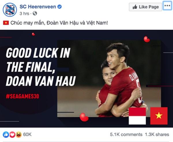 Góc tự hào: CLB của Đoàn Văn Hậu ở Hà Lan gửi lời chúc mừng U22 Việt Nam giành chiến thắng tại SEA Games 30 bằng tiếng Việt: Vô địch! Chúc mừng!-3
