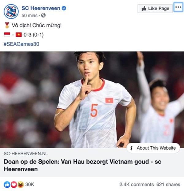 Góc tự hào: CLB của Đoàn Văn Hậu ở Hà Lan gửi lời chúc mừng U22 Việt Nam giành chiến thắng tại SEA Games 30 bằng tiếng Việt: Vô địch! Chúc mừng!-4