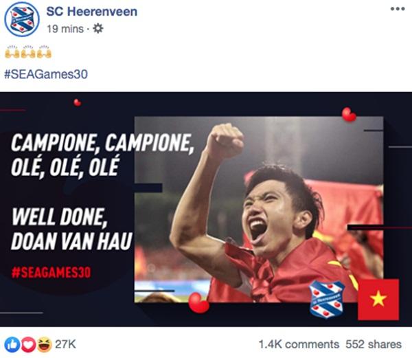 Góc tự hào: CLB của Đoàn Văn Hậu ở Hà Lan gửi lời chúc mừng U22 Việt Nam giành chiến thắng tại SEA Games 30 bằng tiếng Việt: Vô địch! Chúc mừng!-5