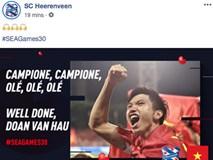 Góc tự hào: CLB của Đoàn Văn Hậu ở Hà Lan gửi lời chúc mừng U22 Việt Nam giành chiến thắng tại SEA Games 30 bằng tiếng Việt: