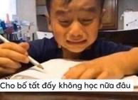 Bị bố quát vì làm mãi vẫn sai bài toán 'con có 10 quả táo cho bố 4 quả', cậu bé khóc mếu: Cho bố tất, không học nữa!