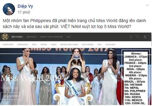 Miss World 2019 bất ngờ lộ bảng xếp hạng thí sinh, Lương Thùy Linh suýt nữa đã lọt vào Top cao này?-1
