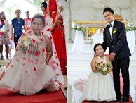 Mắc bệnh ngừng phát triển, cô dâu gây sốt khi tiến vào lễ đường với chú rể cao gấp đôi