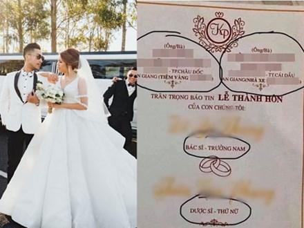 Tấm thiệp cưới nổi bần bật với nghề nghiệp, gia thế hoành tráng của đôi bên khiến dân tình xôn xao: Nhà trai chủ tiệm vàng, nhà gái chủ nhà xe