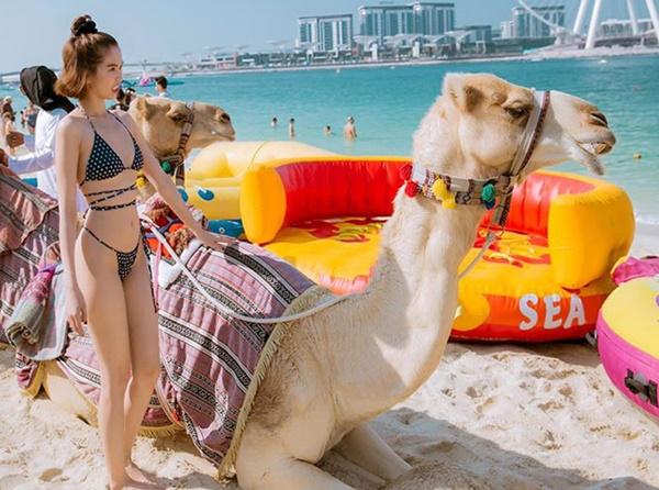 Ngọc Trinh diện bikini dạo biển Dubai-2