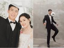 Hậu trường chụp ảnh cưới độc lạ của Duy Mạnh: Chú rể diện vest bảnh bao vẫn nhớ nghề trổ tài tâng bóng cực đỉnh