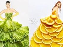 Trái cây, chocolate có thể làm chất liệu may váy?