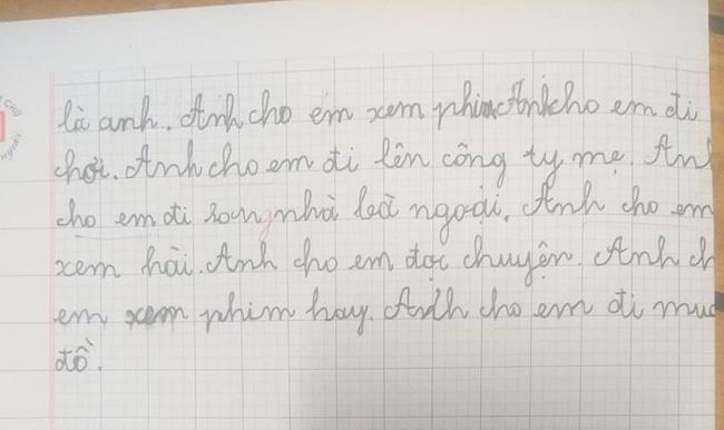 Yêu cầu viết bài văn ngắn tả người thân trong gia đình, cậu bé lớp 2 kể về anh trai thật như đếm khiến mẹ chỉ biết câm nín-2