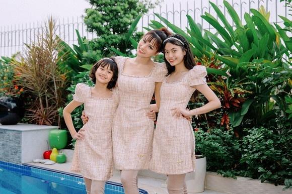 Cựu mẫu Vũ Thu Phương rạng rỡ diện đồ ton sur ton bên 4 cô con gái-3