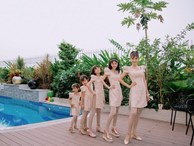 Cựu mẫu Vũ Thu Phương rạng rỡ diện đồ 'ton sur ton' bên 4 cô con gái