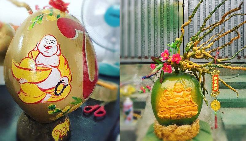 Phật Di Lặc hiện hình trên quả dừa, vàng rực giữa mùa Tết này-2