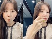 Vừa trang điểm vừa ăn nho, Hari Won vẫn có một diện mạo long lanh khó tả