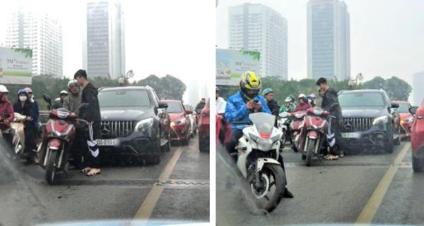 Xe ôtô tiền tỷ của Duy Mạnh và Quỳnh Anh va quệt với xe máy trên cầu vượt ở Hà Nội-1