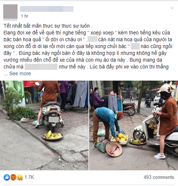 Bức xúc người phụ nữ cán nát mẹt hoa quả của cô bán hàng rong vì ngồi chắn cửa-1