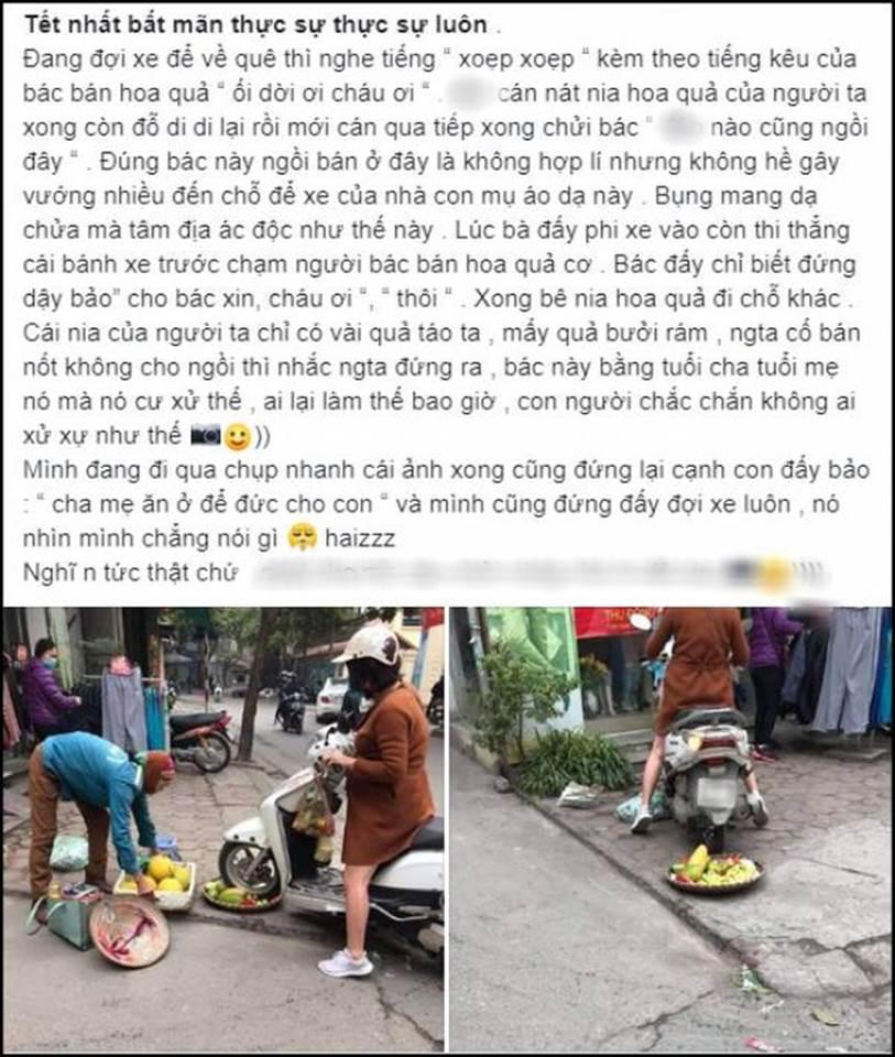 Cô gái hoang mang, điêu đứng khi bị dân mạng chửi bới dữ dội vì hiểu nhầm là người phụ nữ chạy xe máy cán nát mẹt hoa quả của người bán hàng rong-1