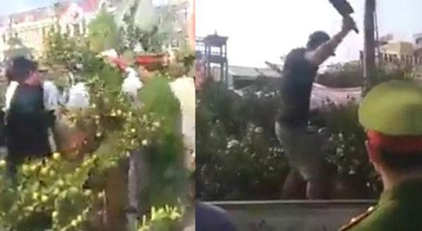 Người đàn ông cầm dao leo lên xe ô tô công vụ chặt các cây quất khi bị xử lý-1