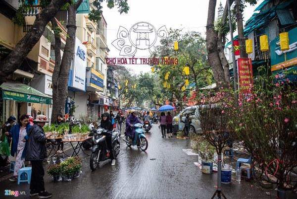 Người Hà Nội đội mưa mua đào, quất rớt giá chiều 30 Tết-1