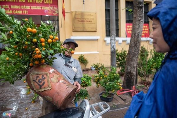 Người Hà Nội đội mưa mua đào, quất rớt giá chiều 30 Tết-8