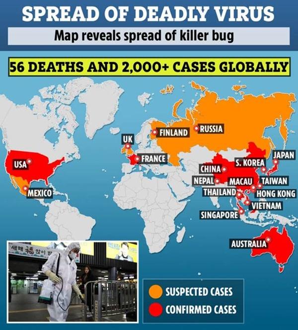 Giật mình trước sự lây lan virus corona trên bản đồ nhiệt: Ổ bệnh không còn là của riêng Trung Quốc nữa mà đã tiến triển trên toàn cầu-3
