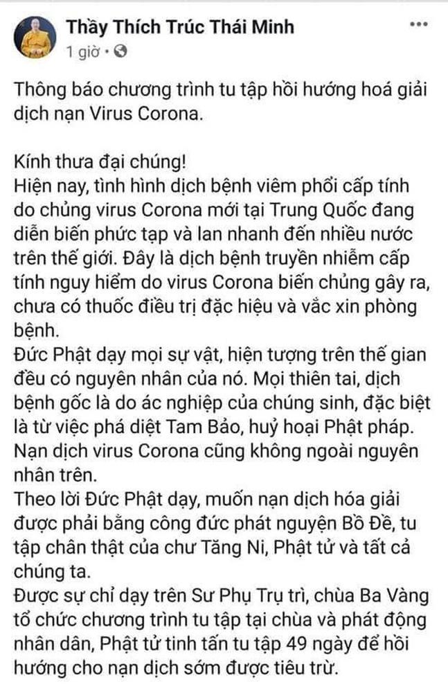 Đã gỡ hình ảnh chương trình giải dịch cúm virus corona của trụ trì chùa Ba Vàng-2