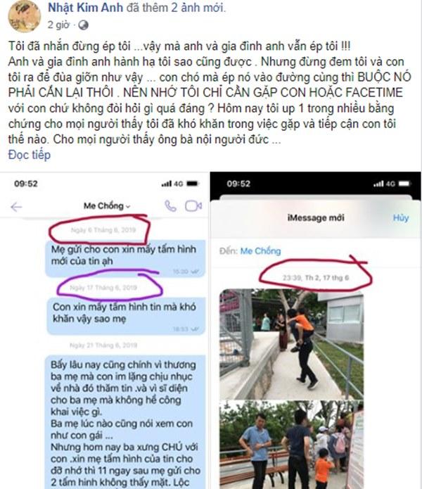 Hết van lạy, tố cáo chồng cũ không cho gặp con, Nhật Kim Anh còn lôi cả bố mẹ chồng ra mỉa mai-1