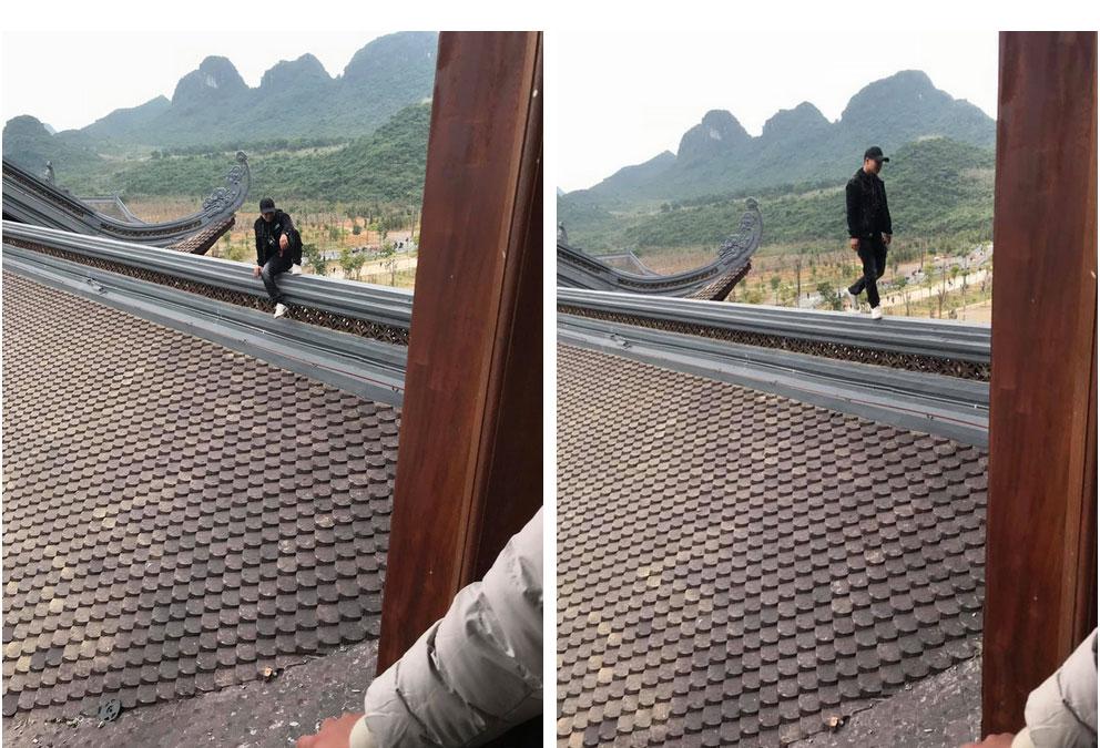 Nam thanh nữ tú trèo lên mái chùa lớn nhất Việt Nam để chụp ảnh: Những nụ cười xấu xí-1