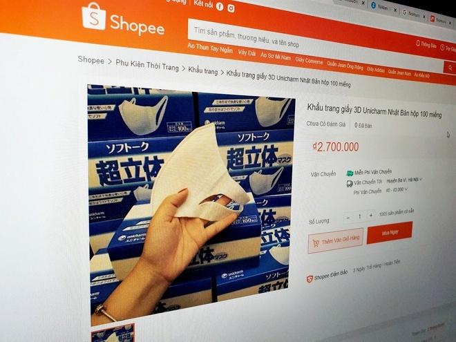 Khẩu trang 3D Nhật được bán với giá 2,7 triệu đồng trên Shopee-1