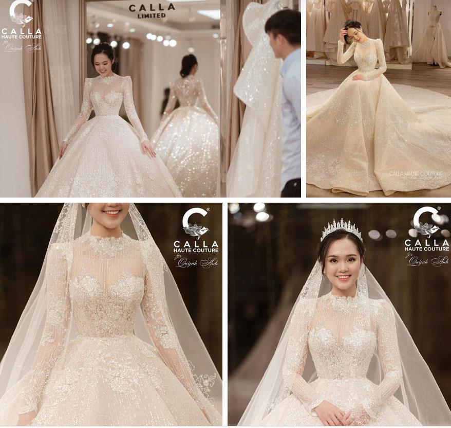 Hé lộ 2 bộ váy cưới cực lộng lẫy của Quỳnh Anh, nhưng xem ra chú rể Mạnh gắt còn điệu hơn cả cô dâu-2